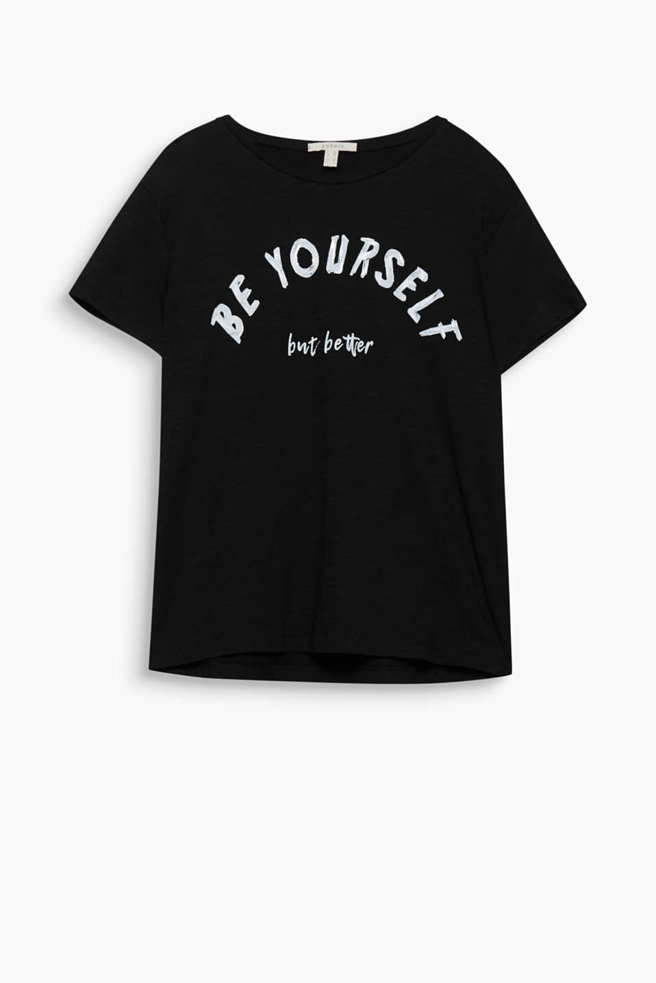 Be yourself, but better: zacht katoenen shirt met een coole statement print met de look van penseelstrepen