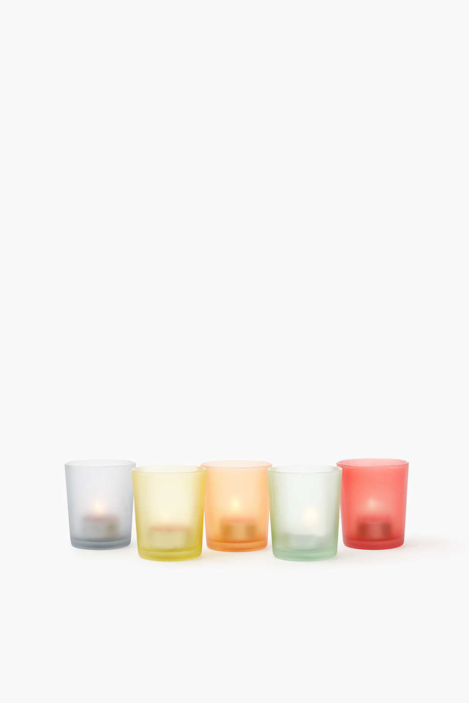 Glass tealight holders in five different colours