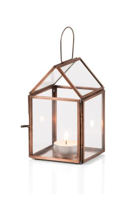 House-shaped lantern in glass/metal