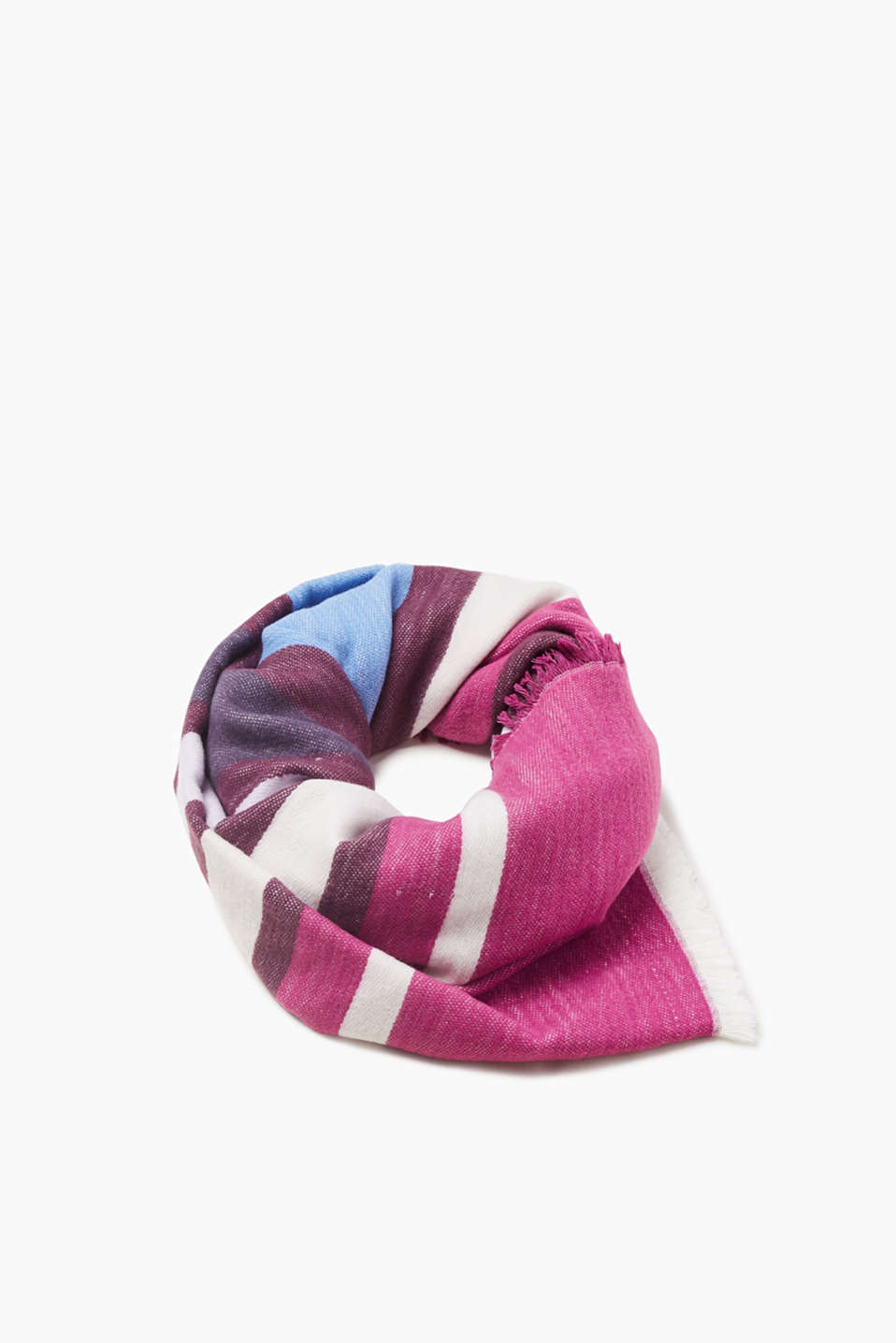 We love colour blocking! The vibrant stripes make this scarf extremely eye-catching.