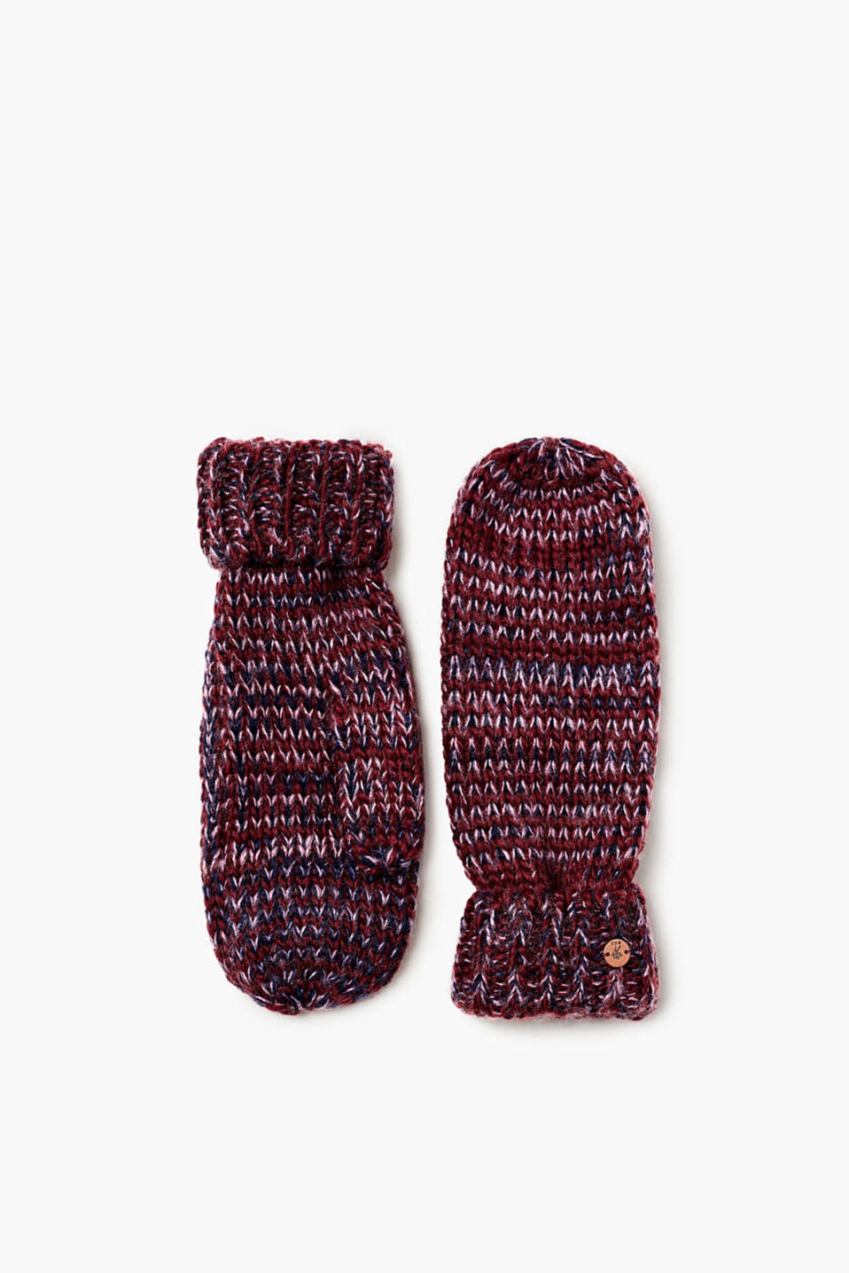 Made of soft and comfy, chunky melange yarn: sportily styled mittens.