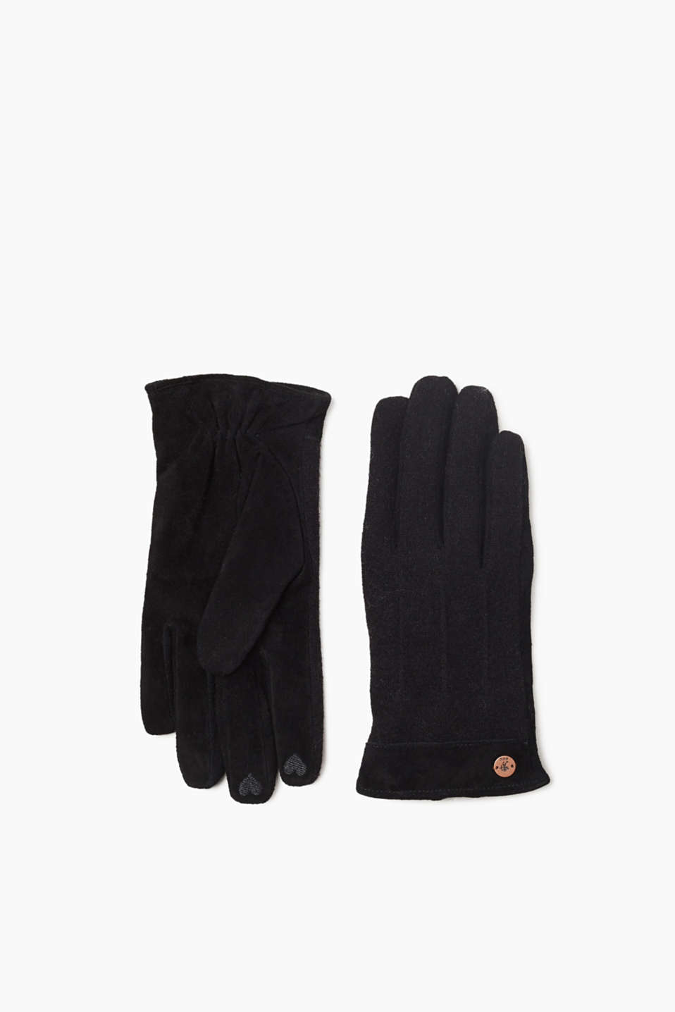 The mix of fine-knit fabric and soft suede give these touchscreen gloves their new look!