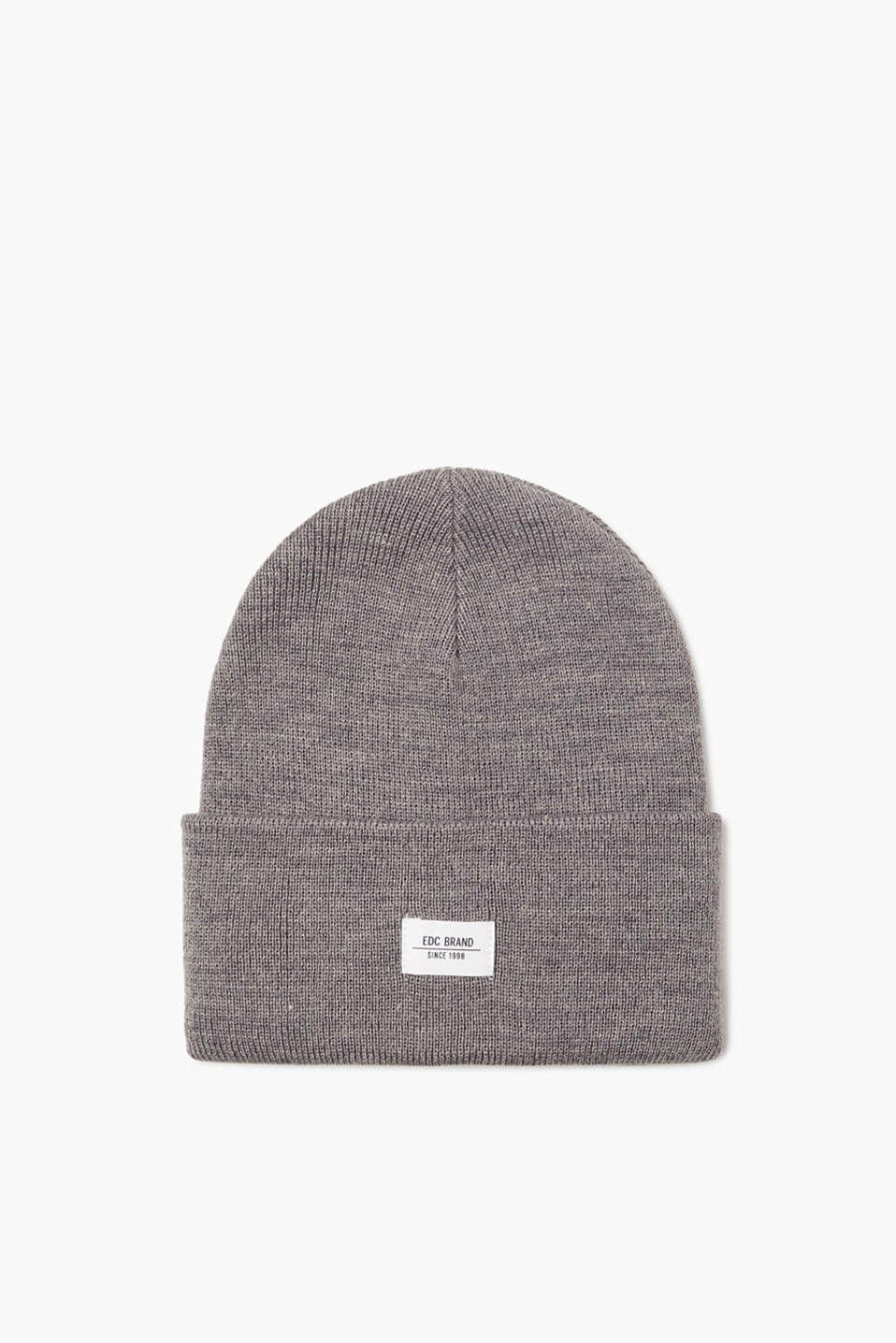 An urban classic! Mottled beanie in high-quality ribbed knit with a logo appliqué