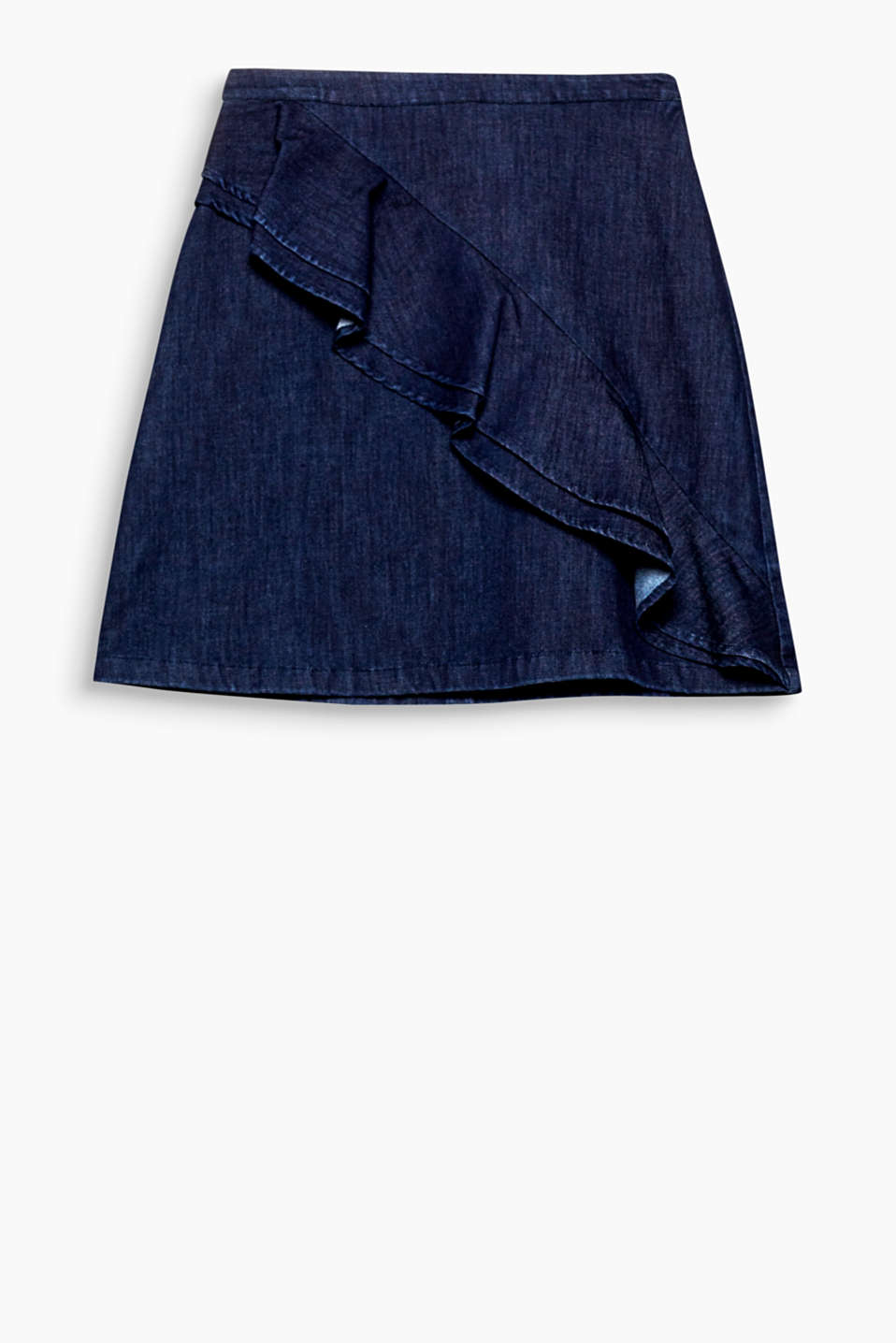 A decorative frill gives this flared denim skirt the perfect amount of pretty feminine style.