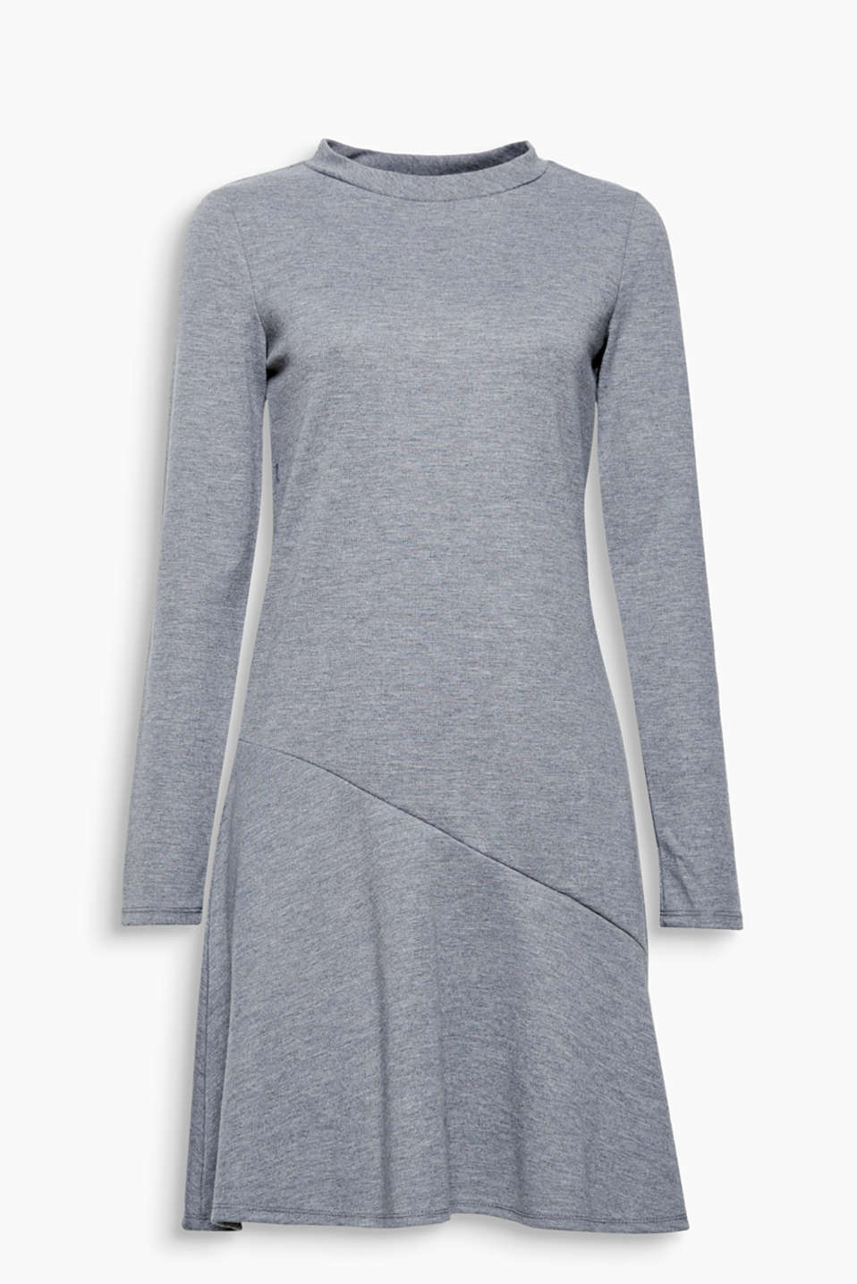 So easy and versatile: heavy jersey dress with a stand-up collar and flounce hem