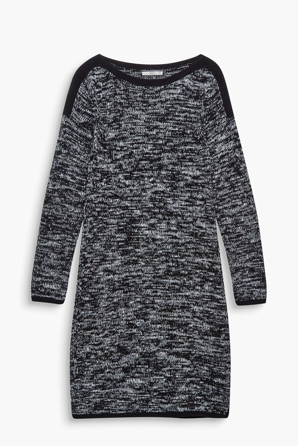 In eye-catching two-tone textured knit yarn!  This mini dress will take you through the autumn