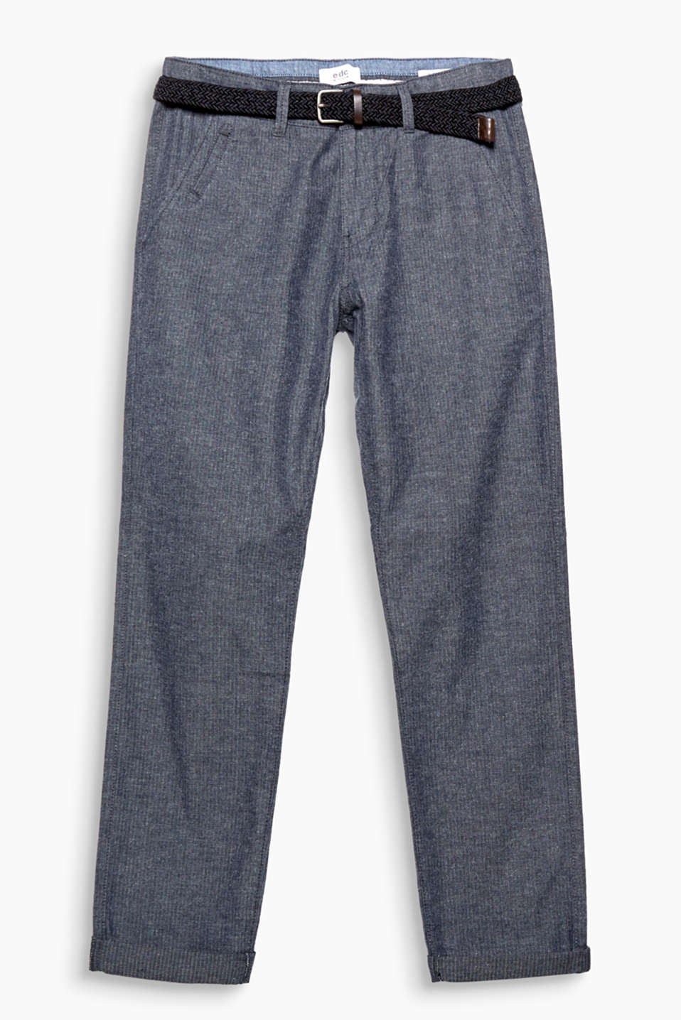 A casual style favourite! These trousers stun with a herringbone pattern and a stylish woven belt.