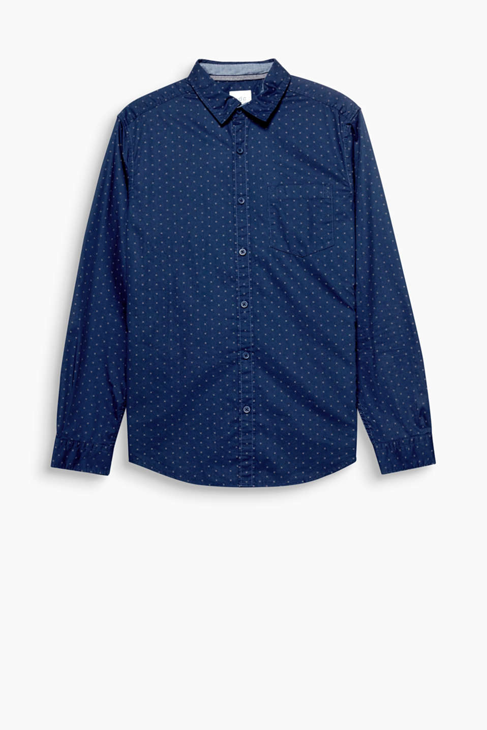 The shirt is made of smooth twill with a denim-lined collar, showing off the fine, minimalist print to perfection!