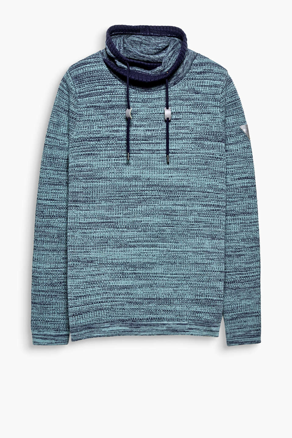 In a melange knit with a cosy shawl collar with drawstring: this jumper is a casual highlight