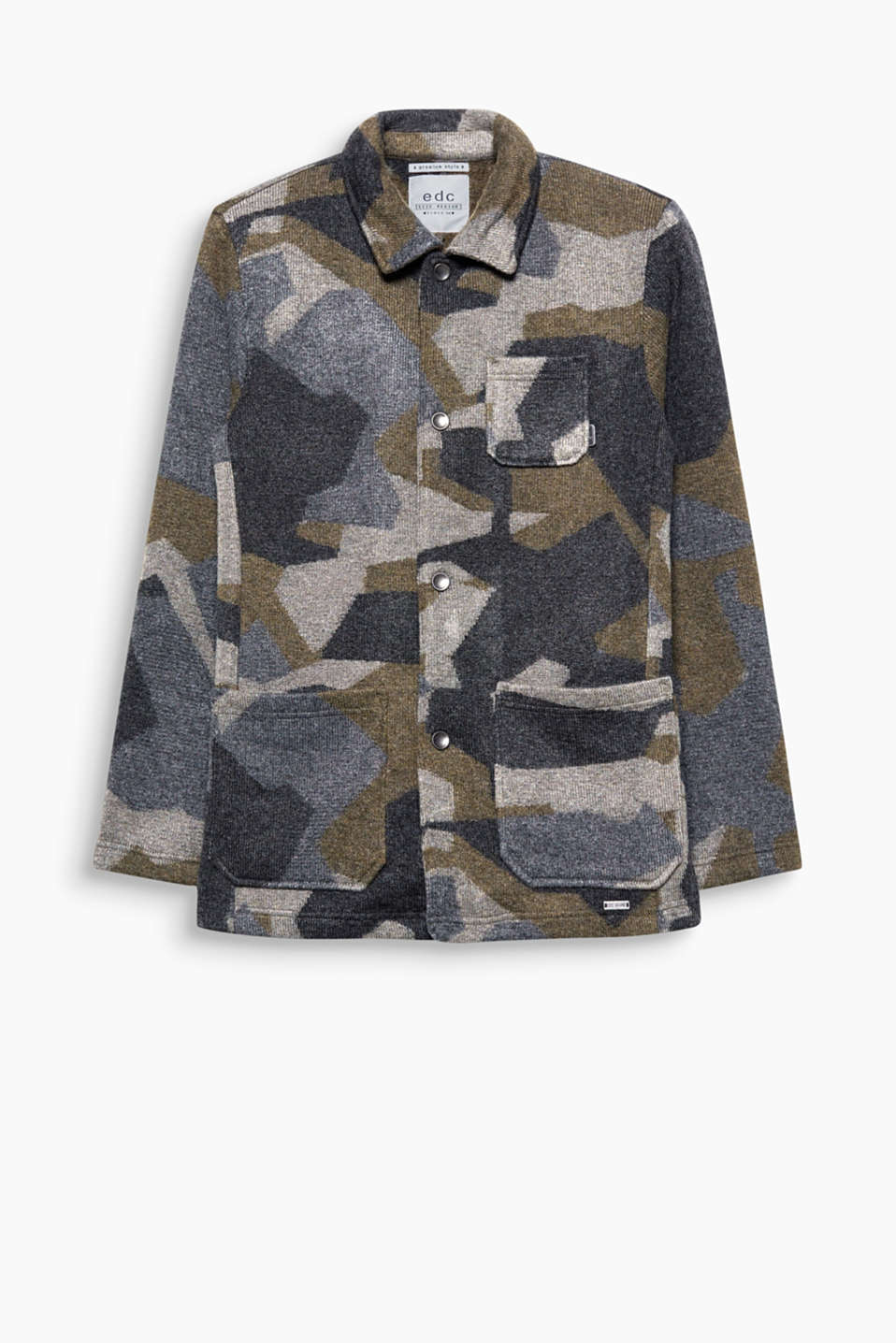 New camouflage! This cardigan is crafted from high-quality knit yarn with wool.