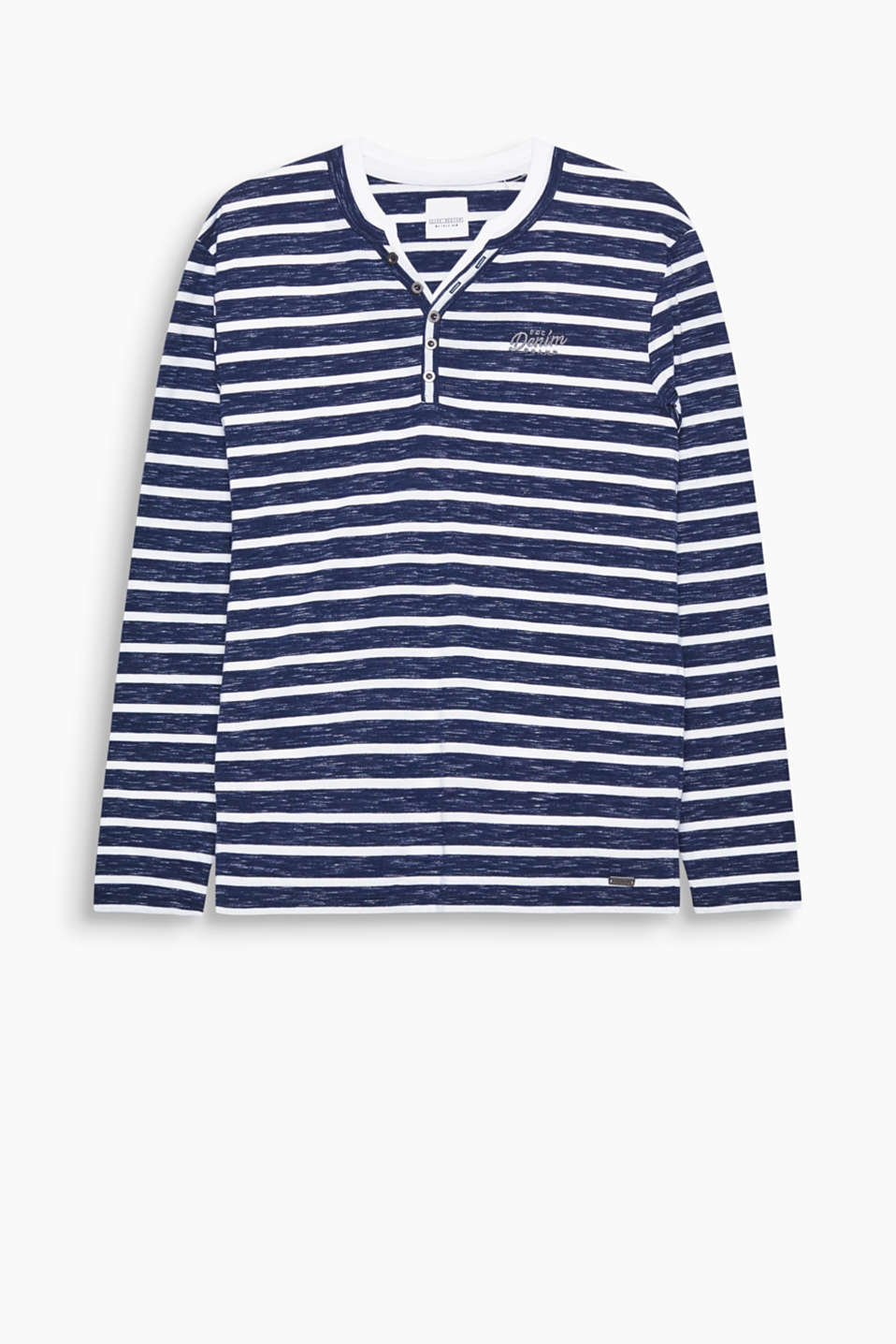 The striking striped pattern make this Henley style long sleeve top an urban favourite