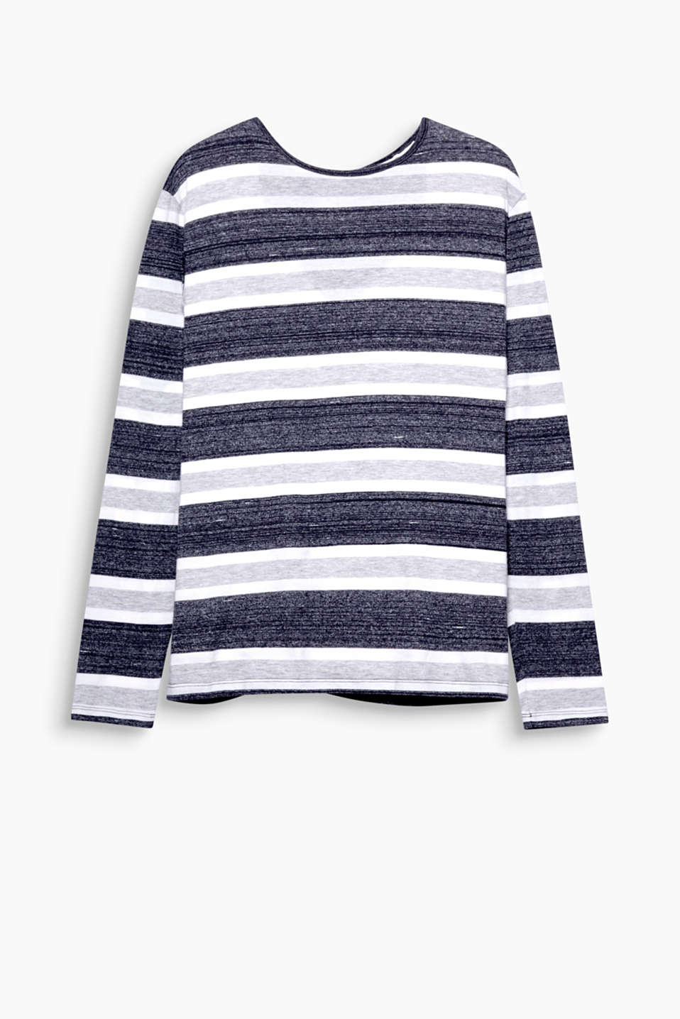 Ravishingly retro stripes! This long sleeve jersey top stuns with its nautical look