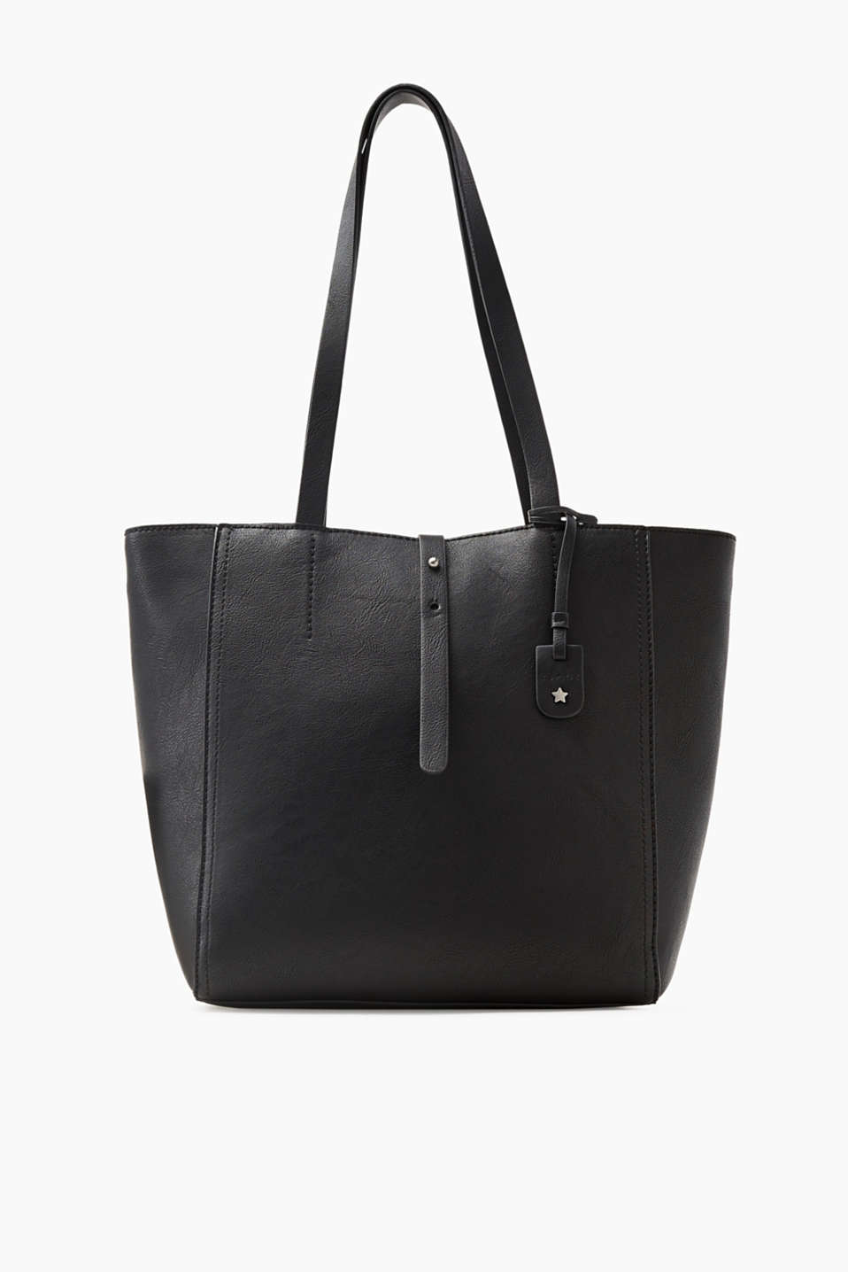 Contemporary and compact! The fantastic format and classic faux leather make this shopper a little bit special