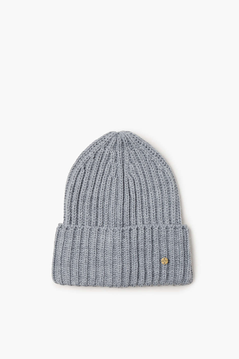 This ribbed knit beanie features a large turn-back cuff and a small logo appliqué.