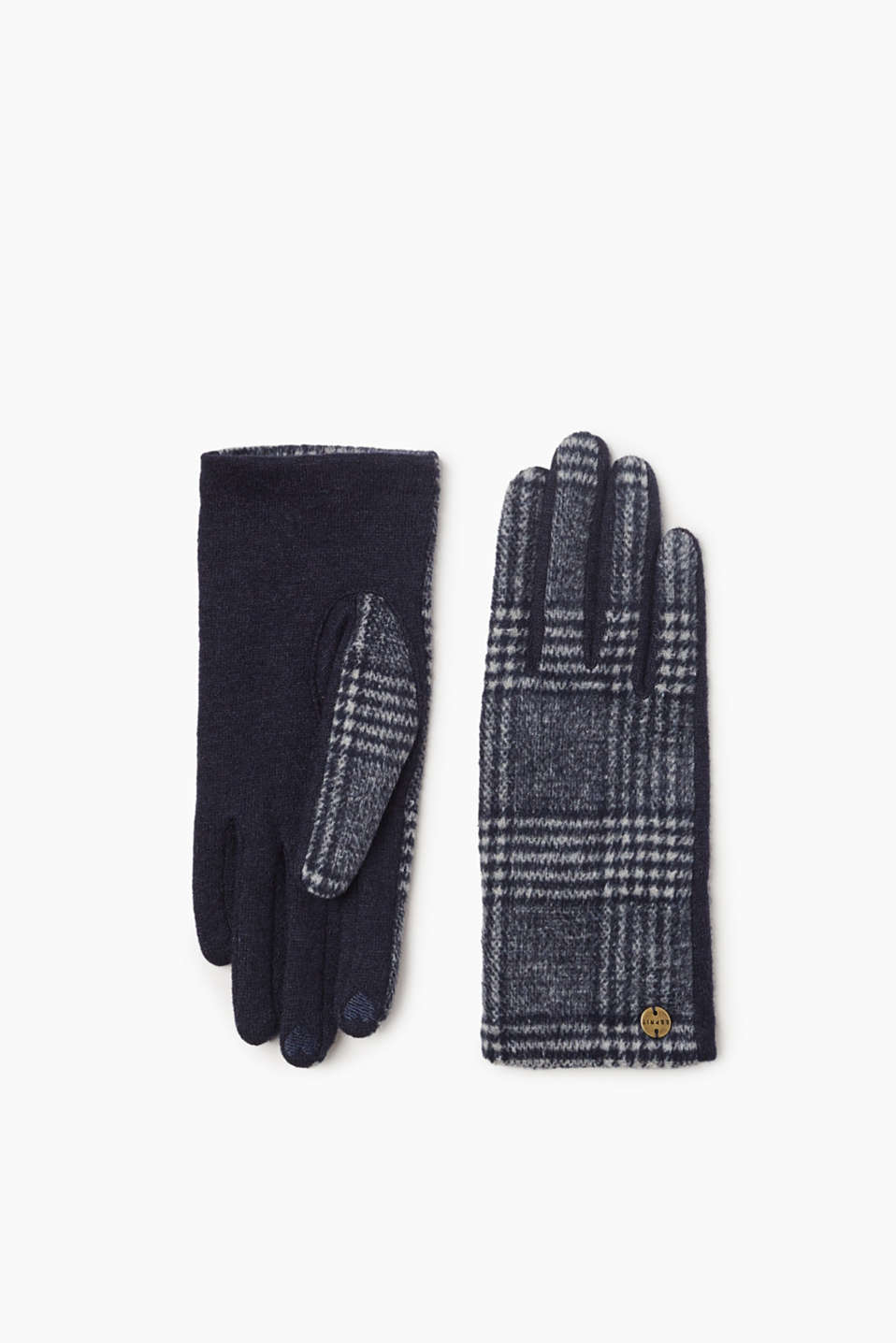 The exciting glencheck pattern and soft fabric blend containing wool make these gloves a favourite accessory