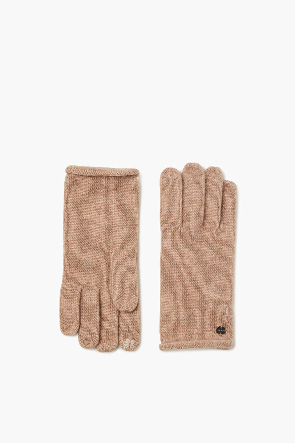 These elegant knitted gloves can be used with touchscreens and are composed of an impressive wool/cashmere blend.