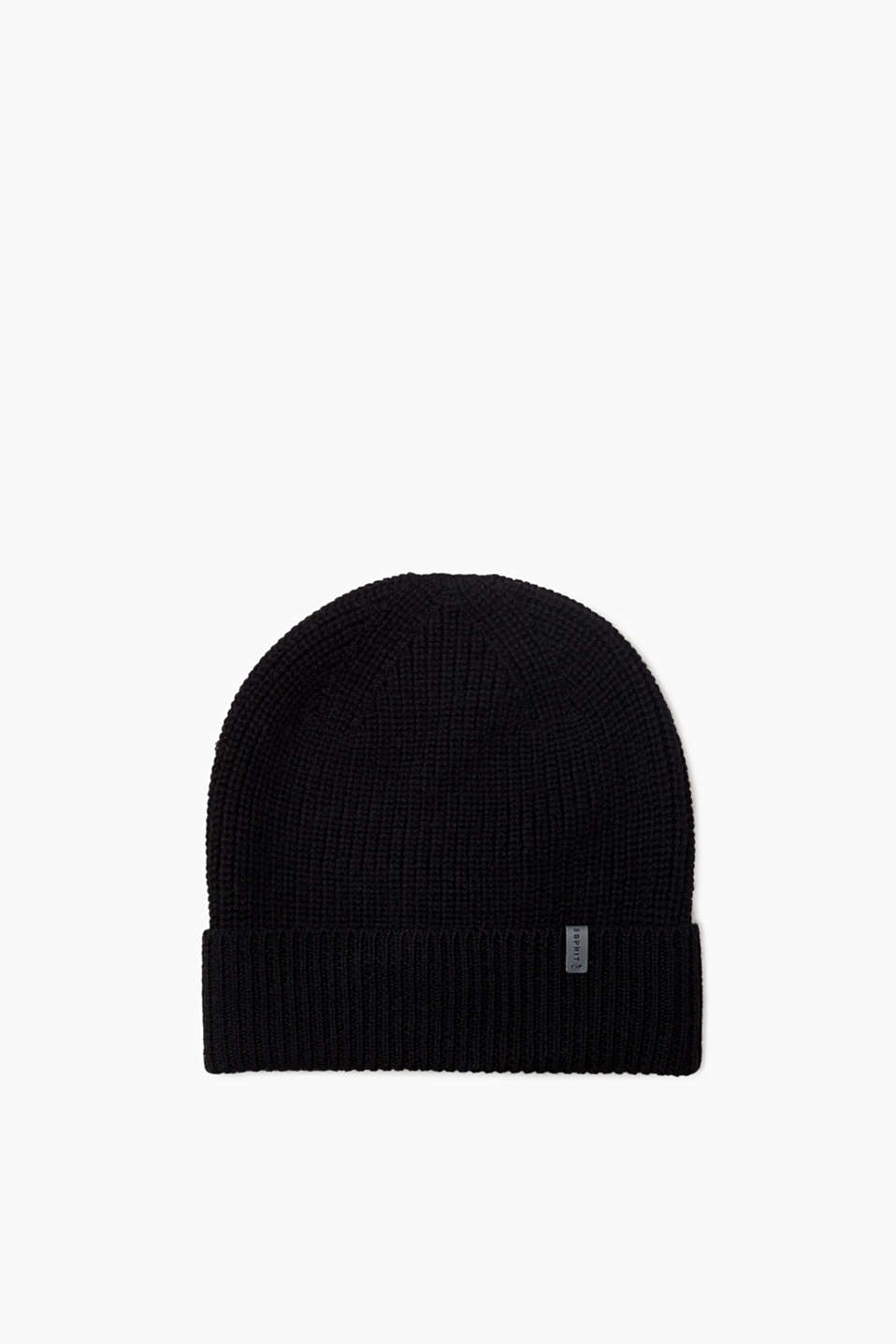 This rib knit beanie made of pure wool with a turn-back cuff and logo appliqué is a soft, elegant basic piece for cold days.