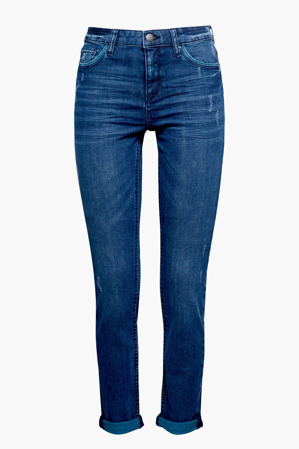 The contrasting coloured detailing and casual vintage finish make these skin-tight jeans mega cool!