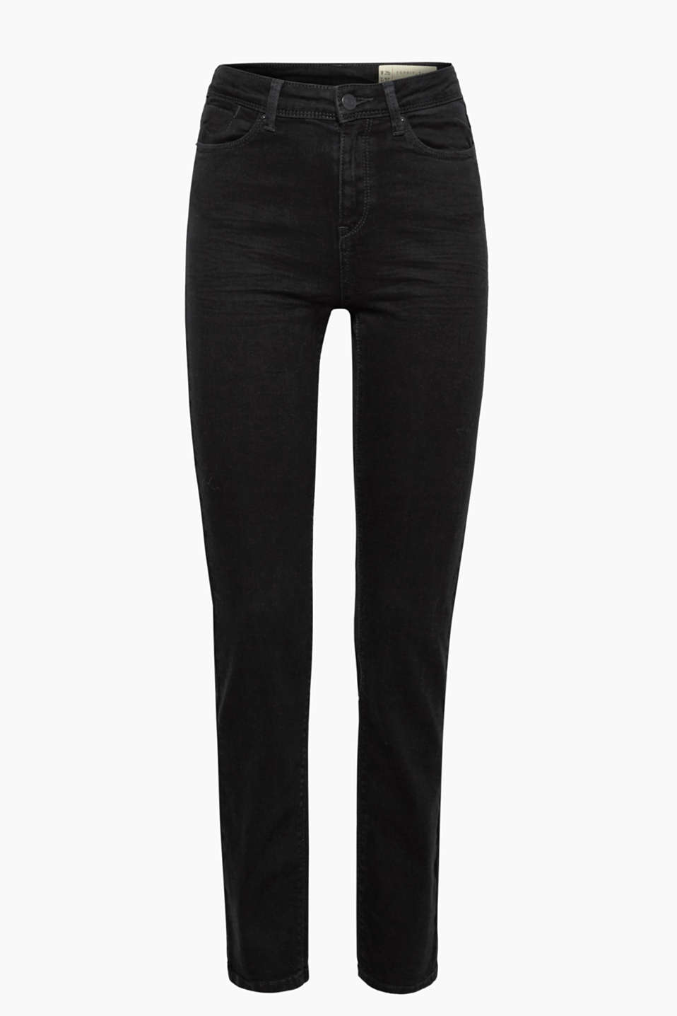 These high-waisted, straight-leg jeans in jet black stretch denim create a sensational silhouette!