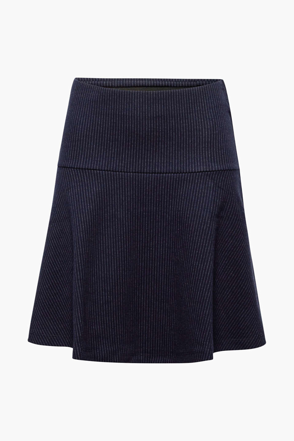 This comfortable jersey stretch skirt with fine pinstripes and an elasticated waistband swirls beautifully.