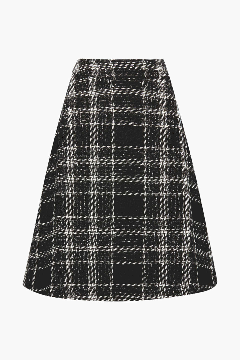 Your new fave skirt for cold winter weather comes in a contemporary midi length and boasts large checks and alpaca!