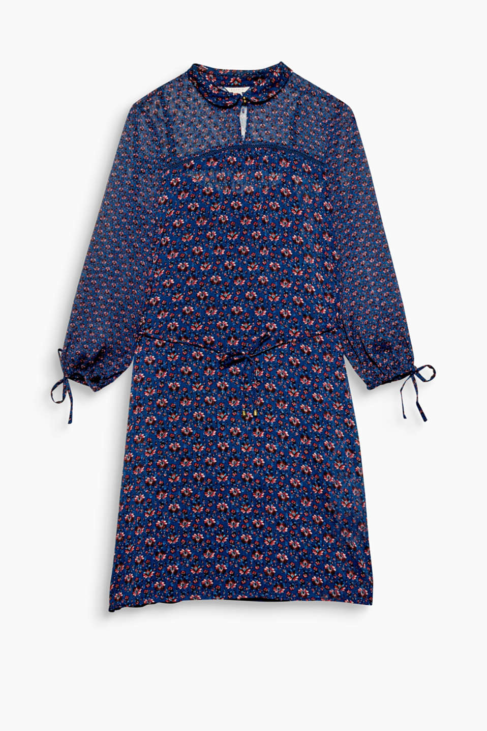 Dresses are all about autumnal styling now - much like this dress in textured chiffon with a floral print!