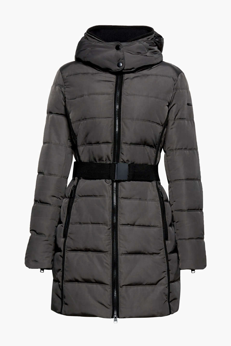 You will be warm and trendy wrapped up in this stylish quilted coat with a hood and waist belt!