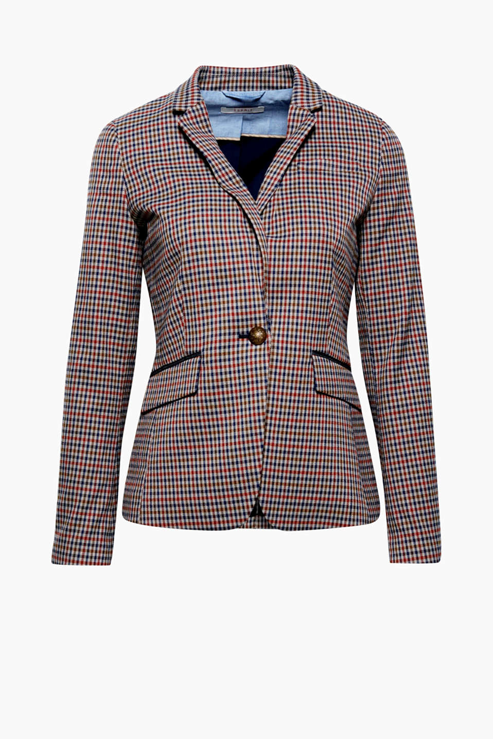 The last word in smart casual: made of fine blended fabric with a small check pattern, crest buttons and elbow patches!