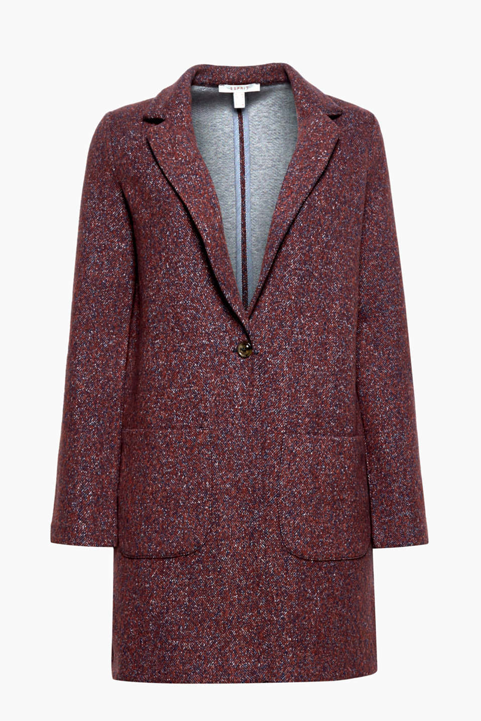 This comfy jersey coat with a herringbone pattern can be worn on its own in autumn and as an indoor piece in winter!