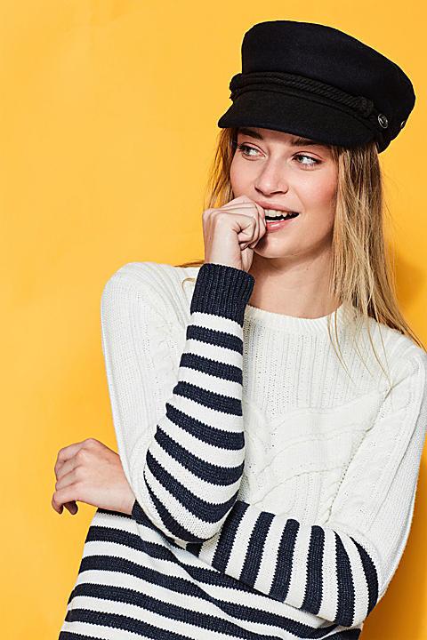 Maritimer Zopf-Pullover aus Baumwoll-Mix