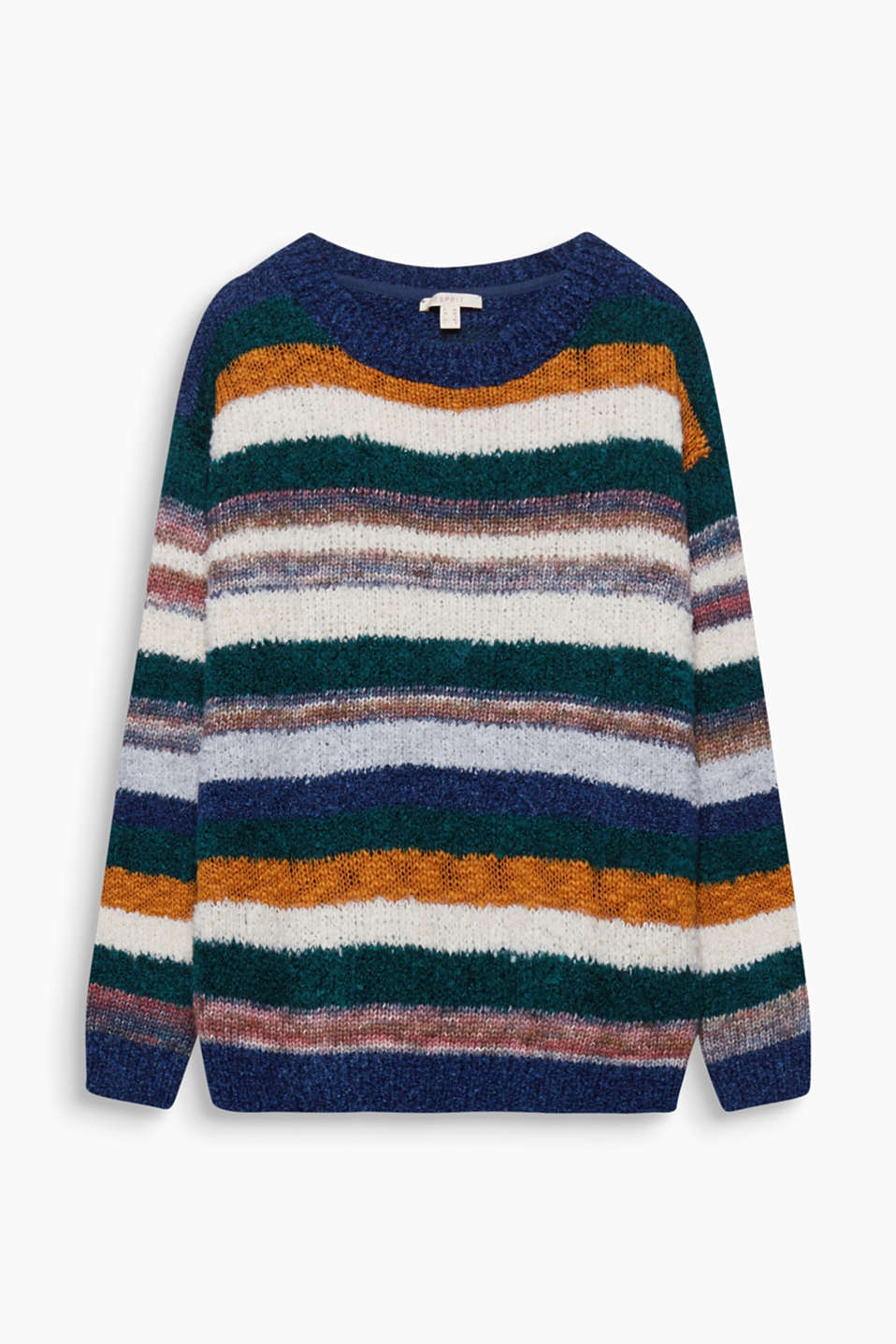 Colourful stripes are combined with various fancy yarns to give this jumper its amazing trendy look!