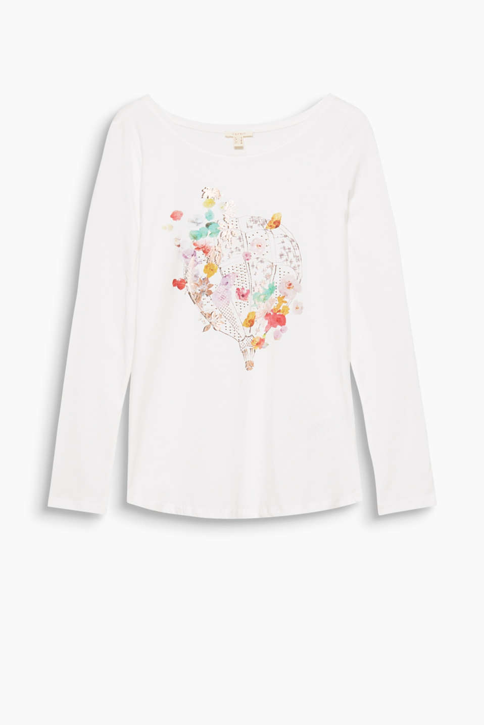A head-turning balloon print: a subtle, shiny motif makes this fitted cotton long sleeve top a head-turning piece!
