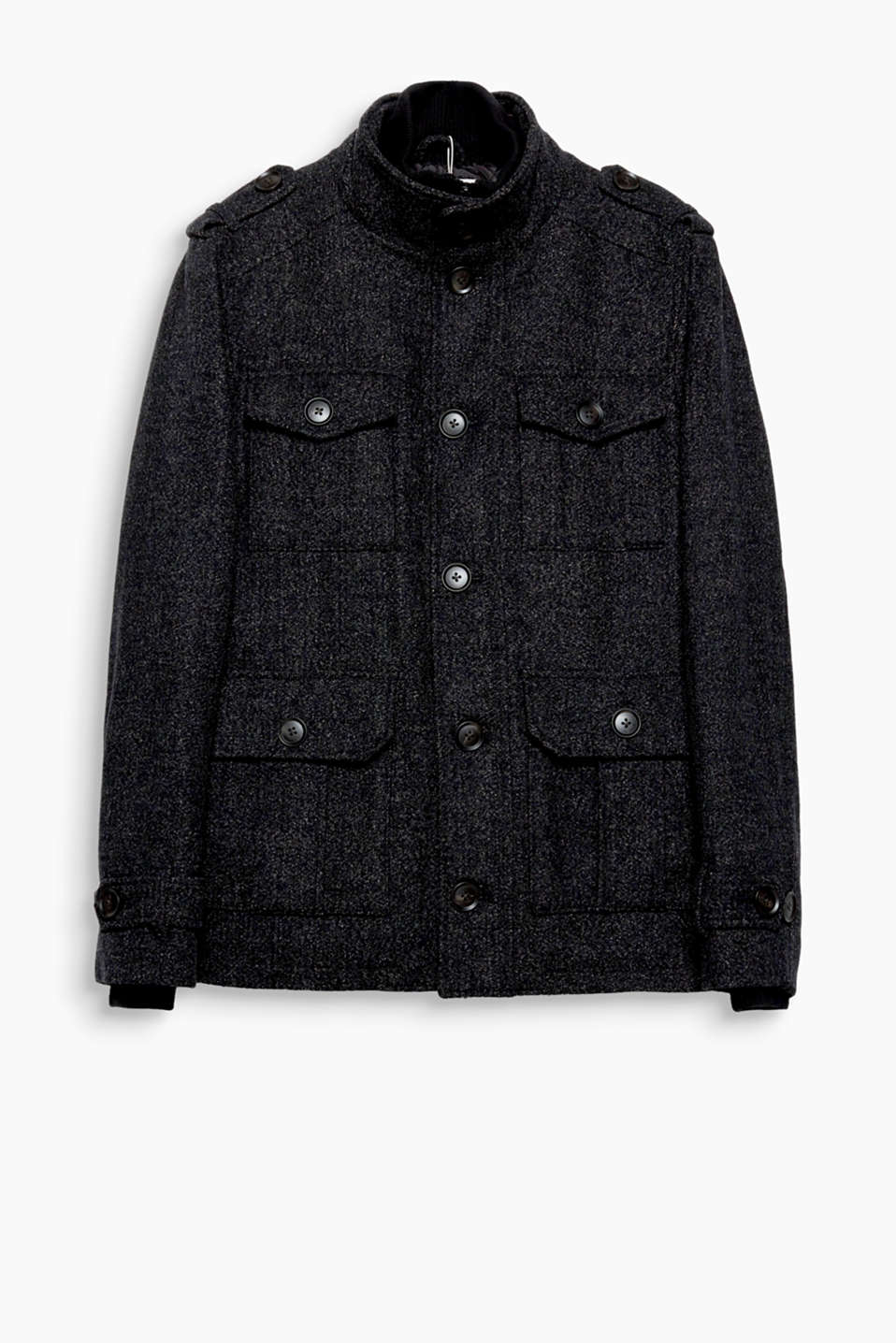 Elegant wool blend meets an urban street style: this melange field jacket boasts a high collar and many pockets