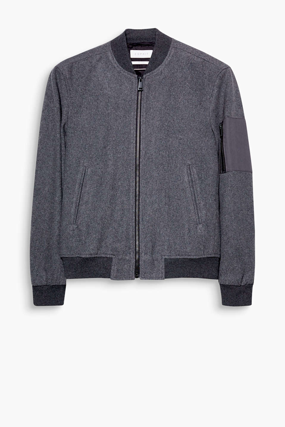 An urban classic! Sporty bomber jacket in a high-quality wool blend