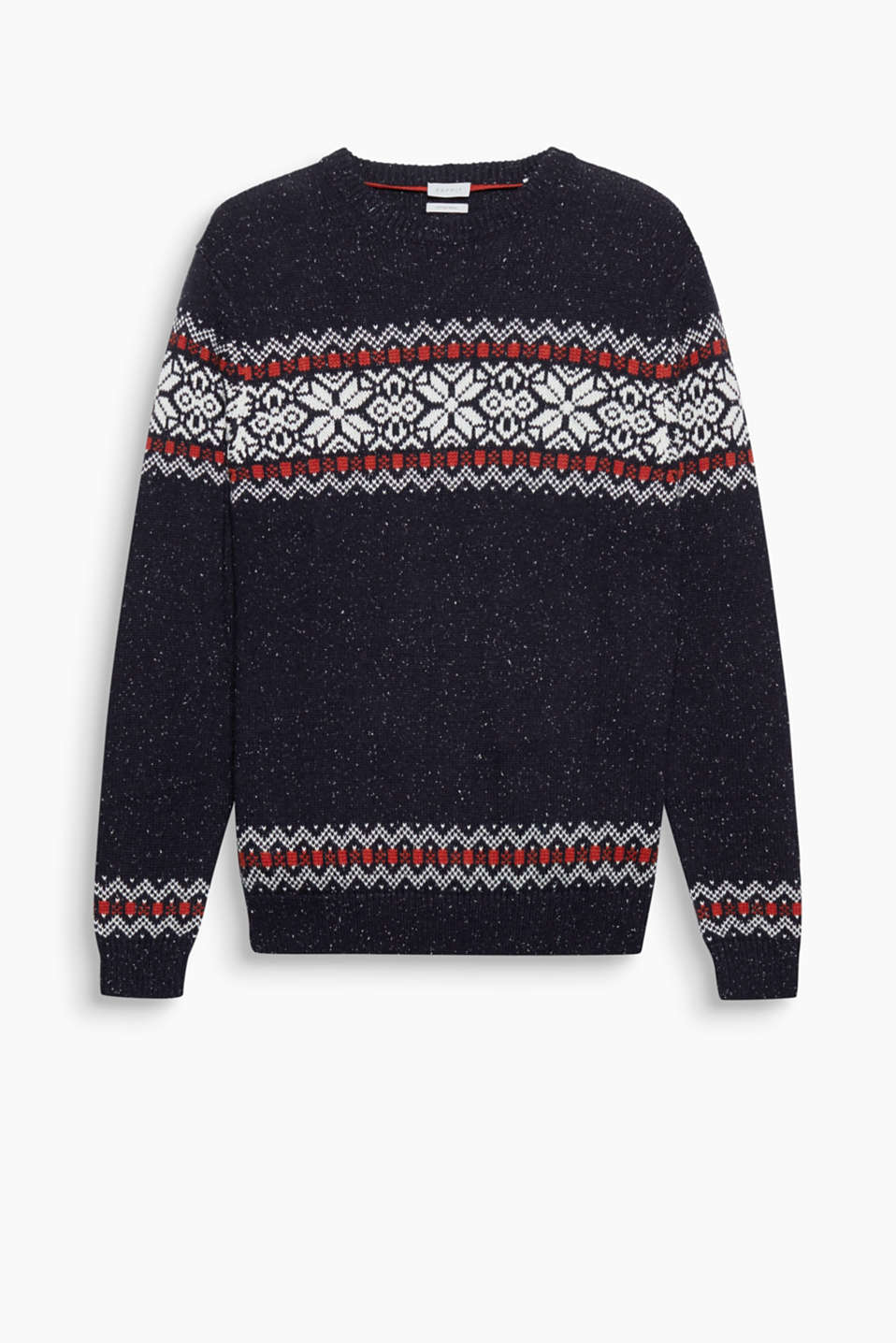 We love casual knitwear! The two-tone intarsia pattern makes this knitted jumper a favourite for the autumn.