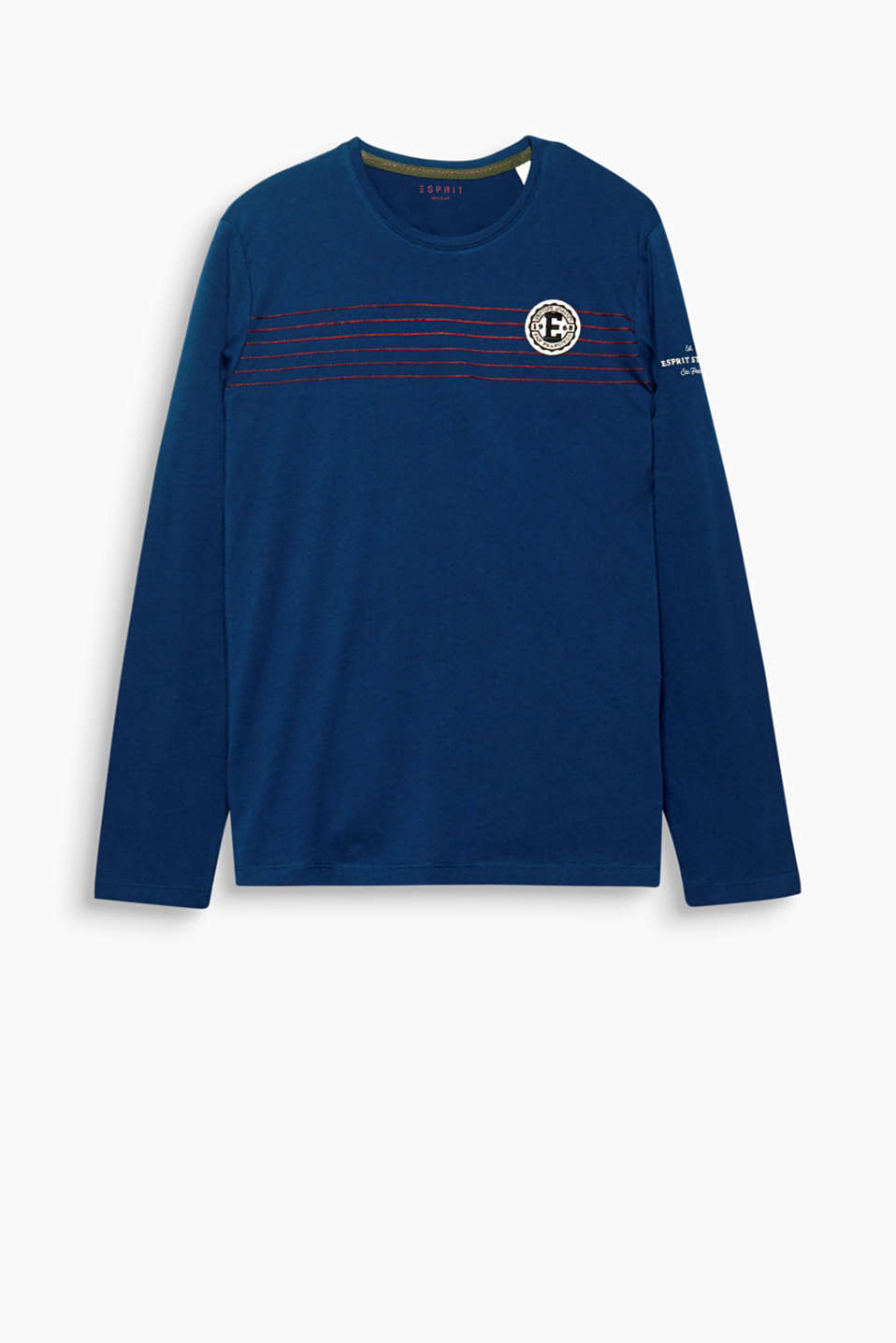 Sporty! This long sleeve top features appliquéd logo emblems and embroidered stripes.