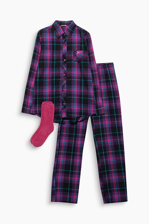 Supercomfortabel en geruit. De flanellen pyjama van 100% katoen overtuigt met een casual boyfriend-stijl.