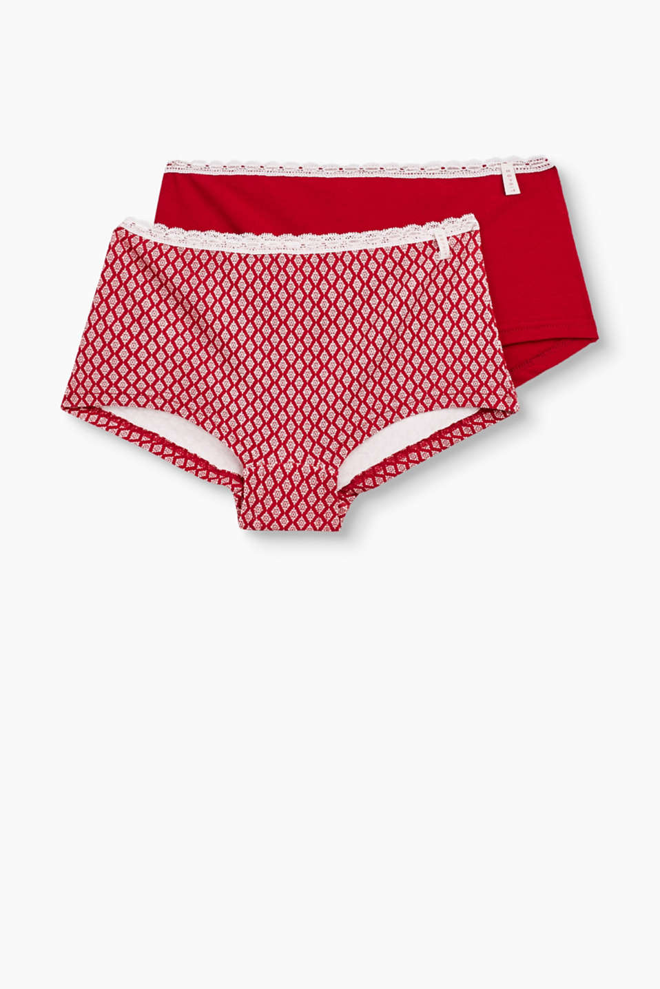 Two pairs of shorts in a romantic retro style: comfortable, with pretty lace trims, patterned and plain