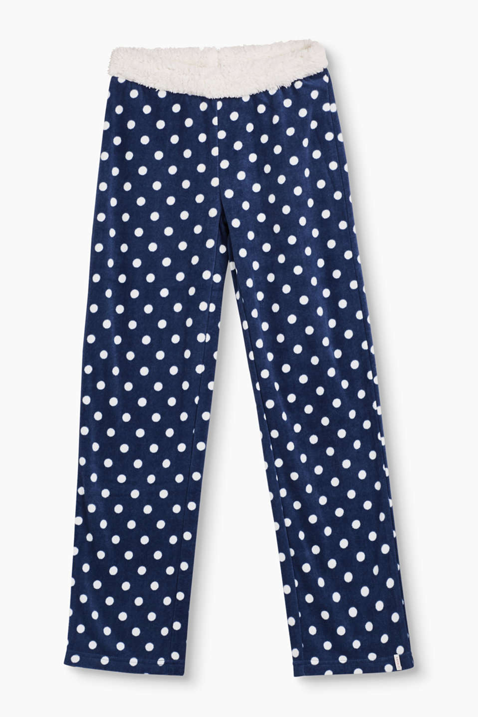 Soft, insulating and sweet to look at! Pyjama bottoms in polka dot fleece with an elasticated fake fur waistband.