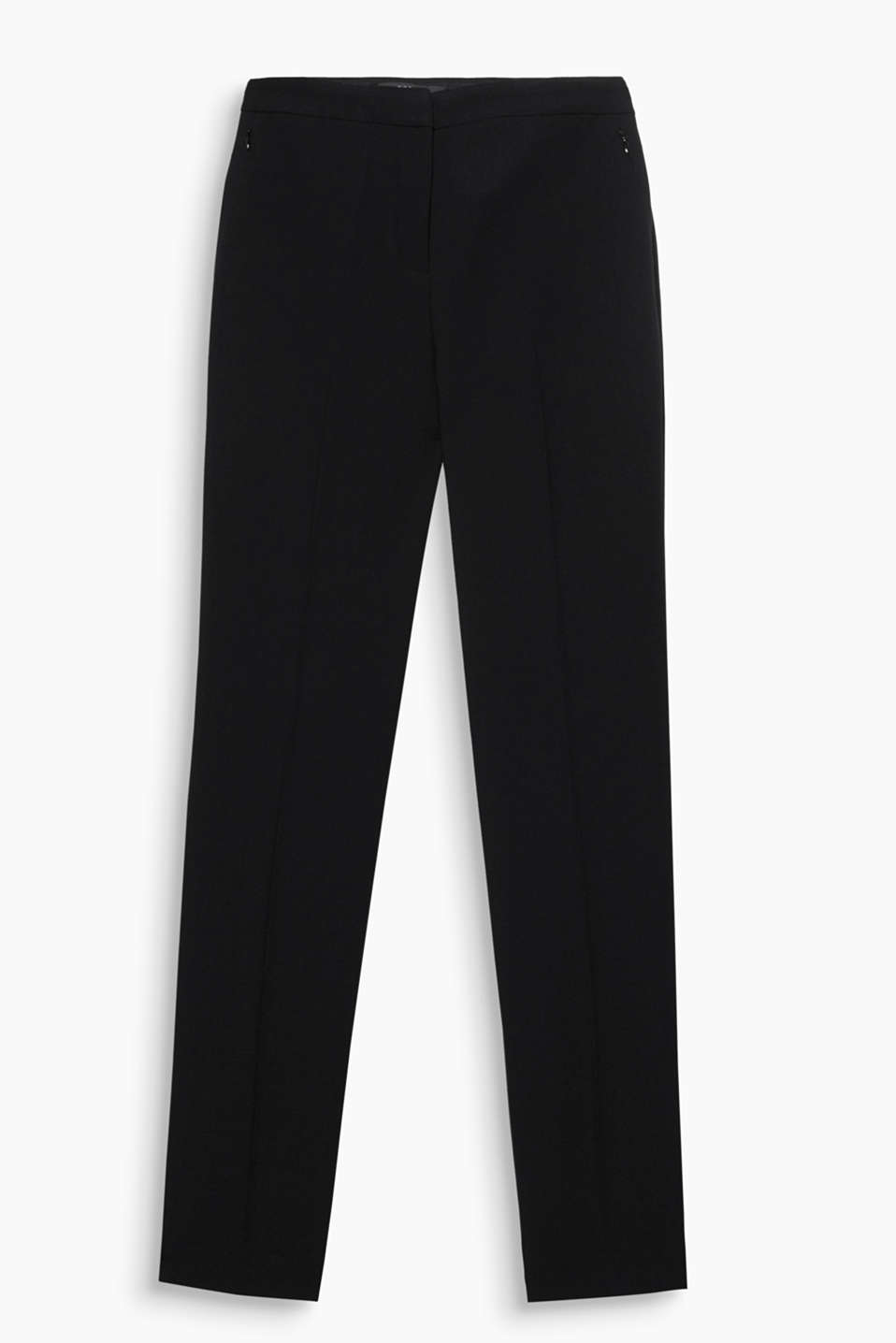 These stretch trousers with pressed pleats and zip pockets are given a beautiful line by the straight hem width + ankle length!