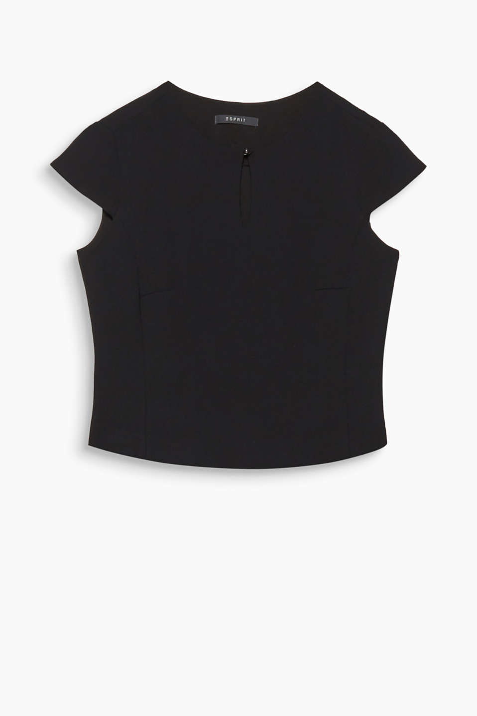 This charming and sexy top features cut-on sleeves plus a button and keyhole cut-out at the neckline