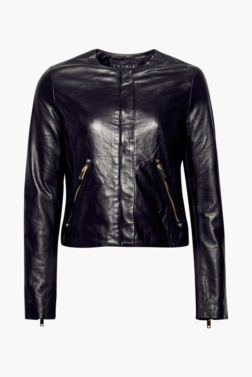 This soft leather jacket in a feminine biker look has its round neckline and central trim to thank for its charm.