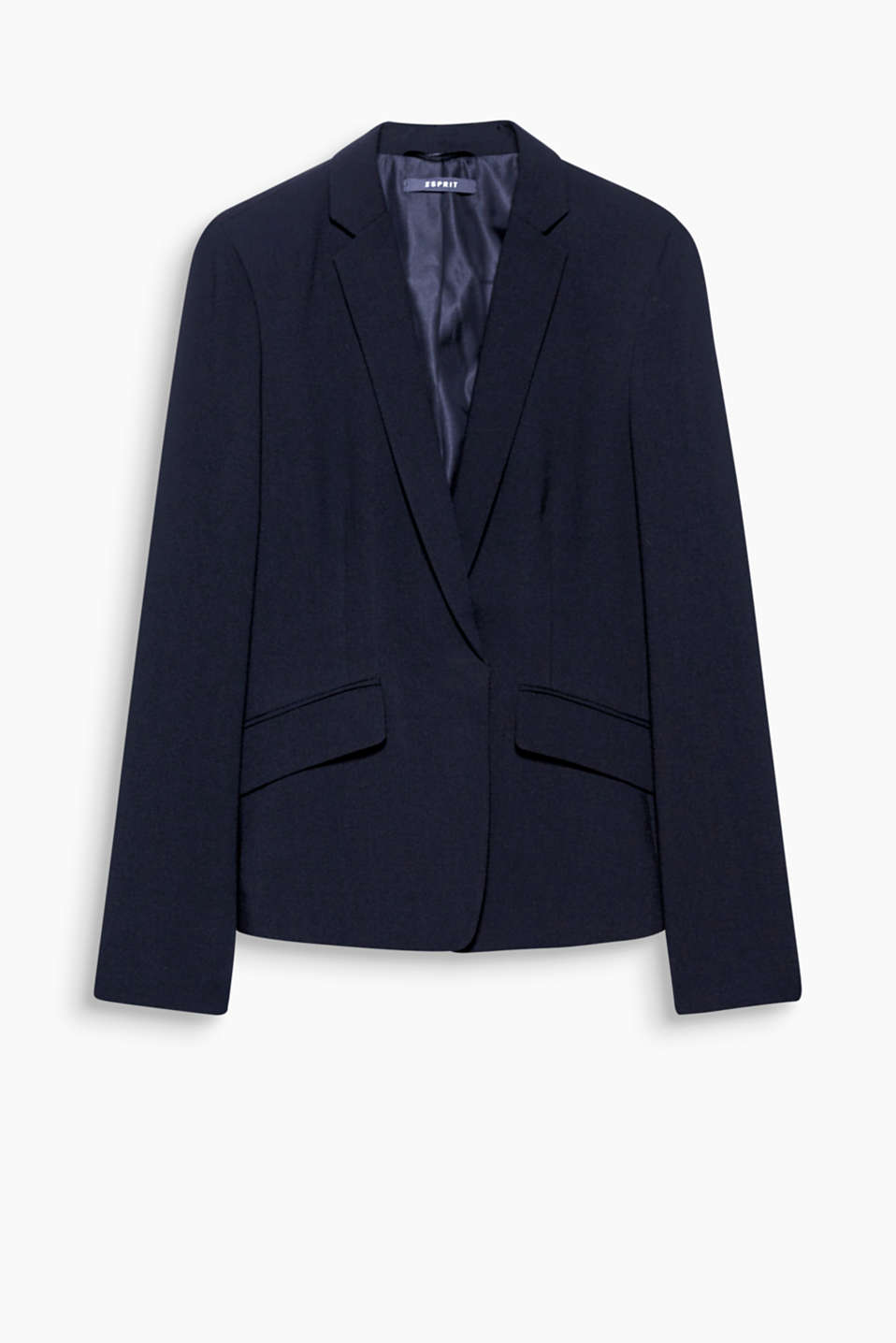 Feminine and smart business wear: fitted blazer with a two-tone herringbone texture