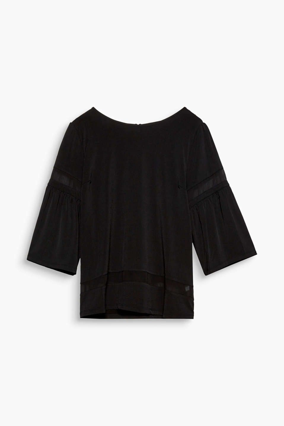 This top is particularly stylish because of its chiffon trim at the hem and the wide three-quarter length sleeves!