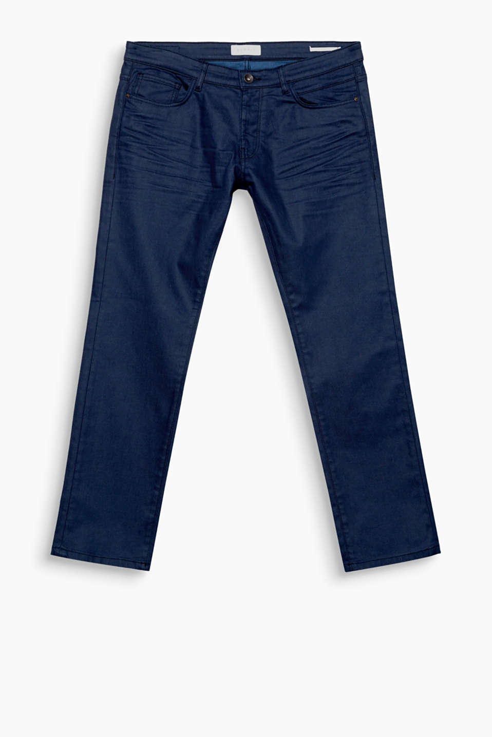 These five pocket jeans with added stretch for comfort will be an elegant style fave because of their coated finish.