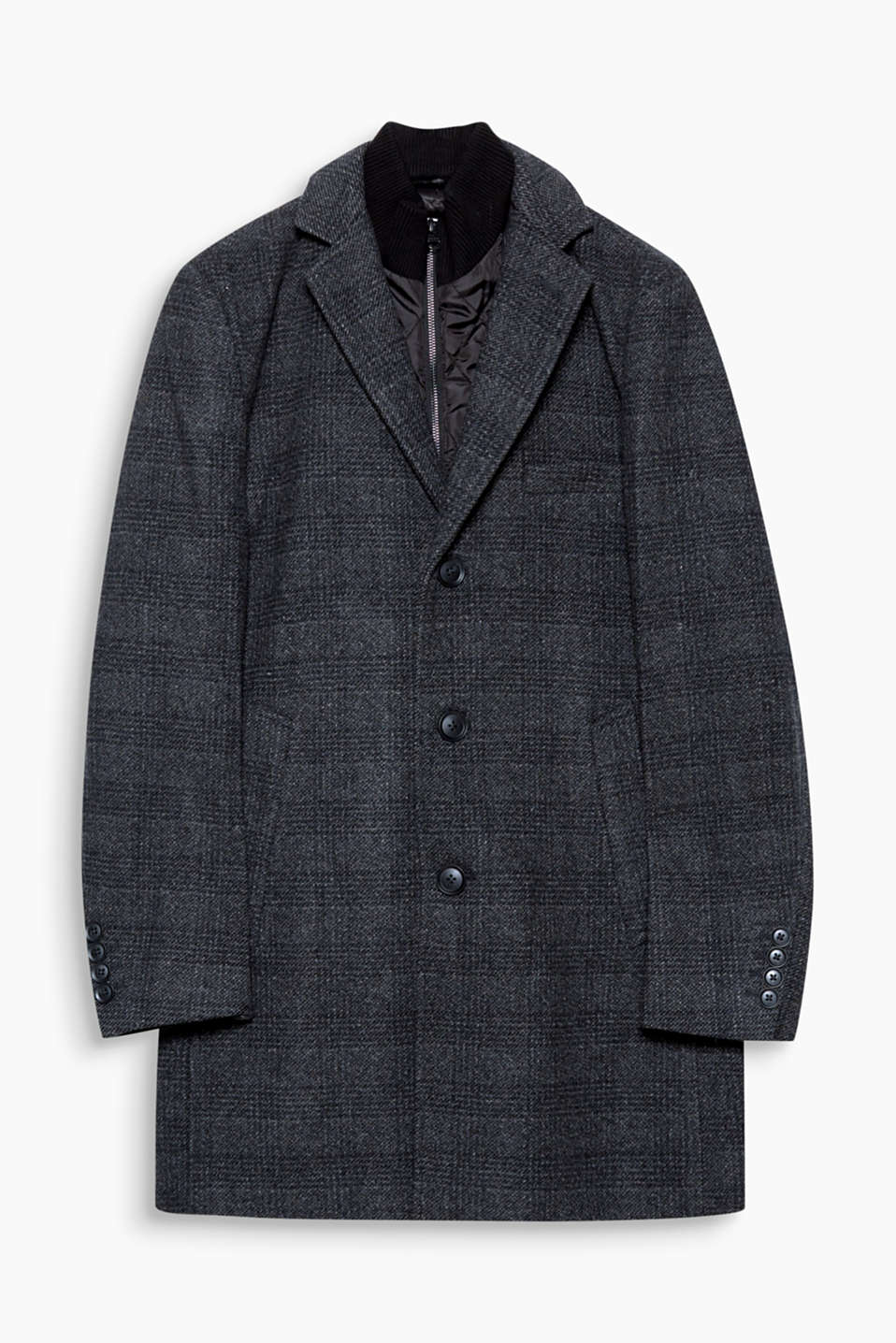 Get through the cold season with this checked coat in exquisite blended wool! The quilted insert will stop you freezing.