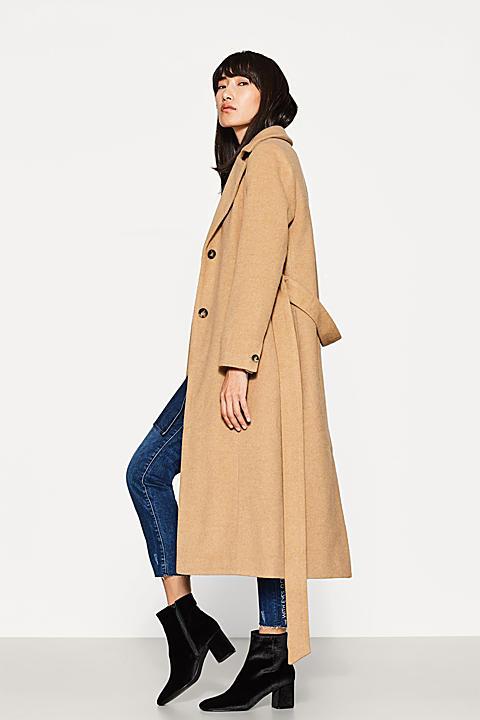 Langer Mantel aus softem Woll-Mix