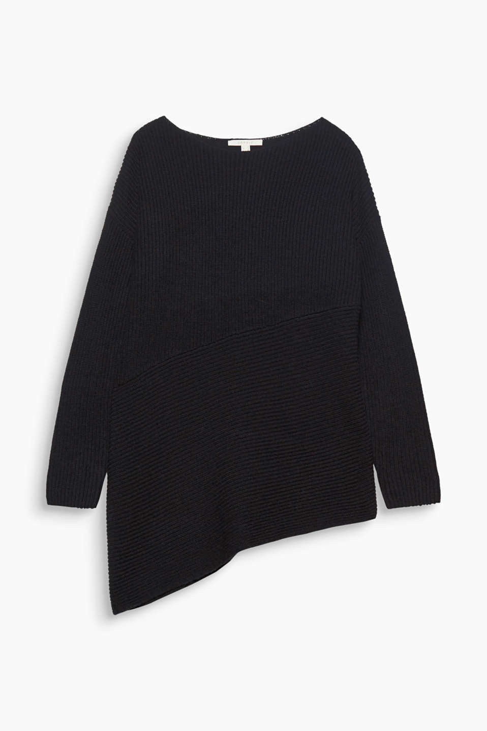 The longer, asymmetric shape and soft ribbed knit make this pullover a modern winter basic