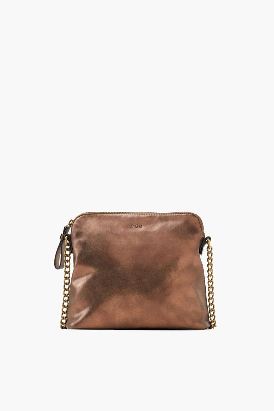 The metallic look in a vintage finish makes this small shoulder bag a cool style accessory.