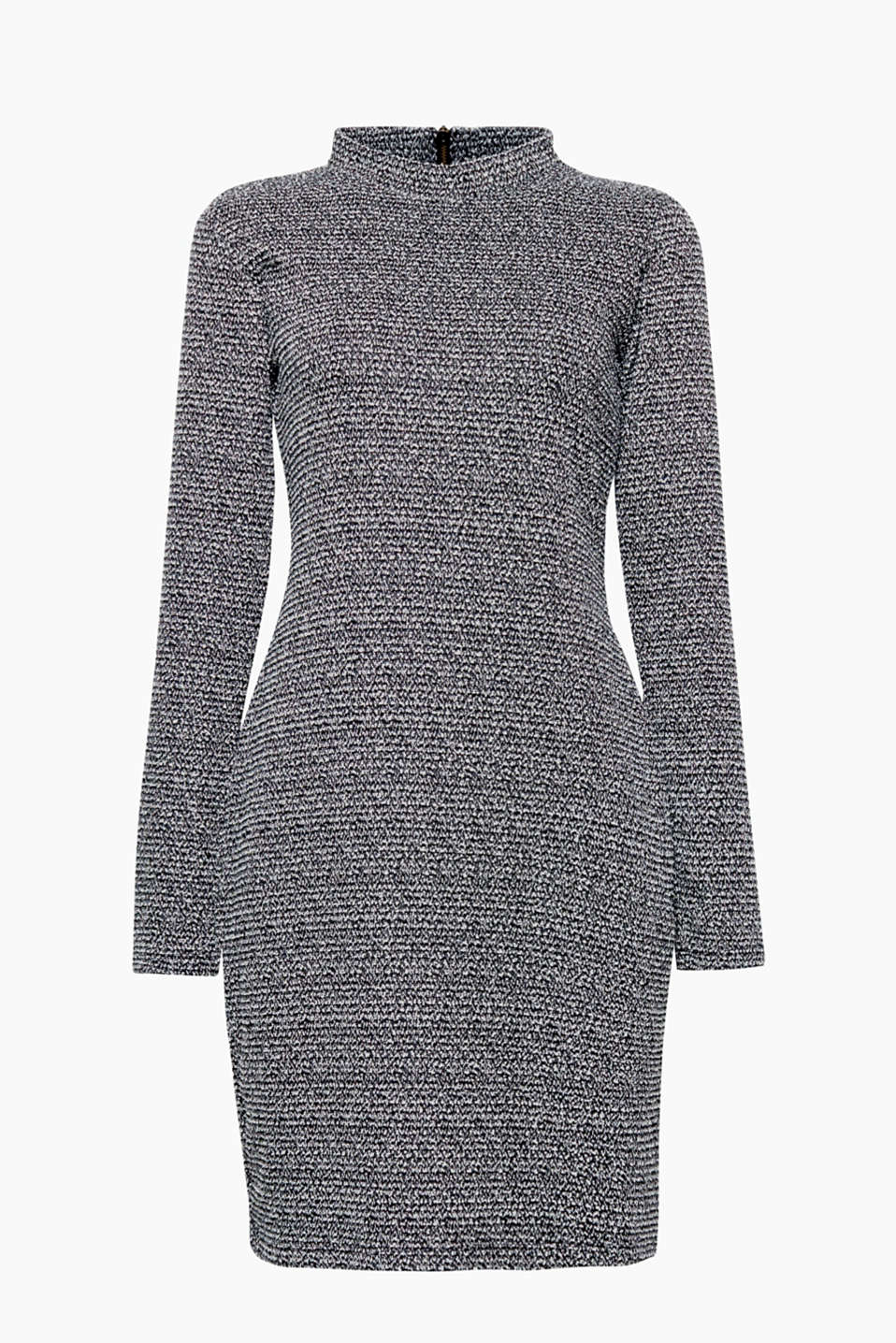 This figure-hugging, stretchy dress with a salt-and-pepper pattern is a go-to favourite for everyday wear!